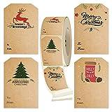 300 etiquetas autoadhesivas de regalo de Navidad, 4 diseños, etiquetas de regalo de Navidad, etiquetas de nombre, festival de invierno, cumpleaños, boda, día festivo, regalo de decoración