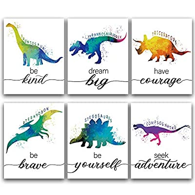 """CHIEN-CHI LILI Dinosaur Bedroom Cool Watercolor Inspirational Words Woodland Art Prints Set of 6 (8""""X10""""), Lovely Roar Name Word Wall Art Poster for Nursery, Boys, Son, Kids Room Home Decor, No Frame"""
