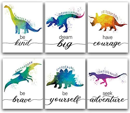 CHIEN CHI LILI Dinosaur Bedroom Cool Watercolor Inspirational Words Woodland Art Prints Set product image