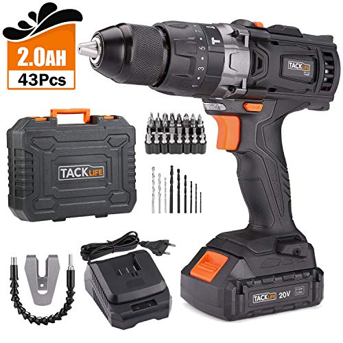 TACKLIFE 20V Cordless Drill, 35N.m, 2.0Ah, 1 Hour Fast Charger, 1/2' Metal Chuck, 43pcs Accessories, Variable Speed, 3-In-1, Hammer Drill with 16+3 Torque Setting -PCD04B