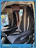 Fundas de asiento para conductor y copiloto, número de color: PL401 (negro/gris)