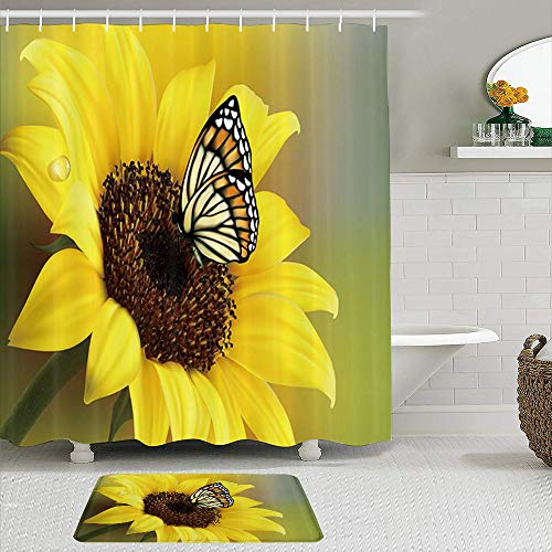 ZOMOY Shower Curtain Sets with Non-Slip Rugs,Rustic Sunflowers Butterfly in Cuntry Floral,Waterproof Bath Curtains Hooks and Bath Mat Rug Included