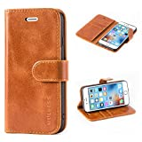 Mulbess Funda para iPhone 6S, Funda iPhone 6, Funda Cartera iPhone 6S, Funda Libro para iPhone 6S con Tapa, Cognac Marrón