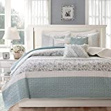 Madison Park MP13-2802 Dawn 6 Piece Cotton Percale Quilted Coverlet Set, Blue...