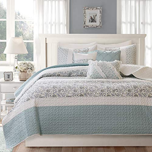 Madison Park MP13-2802 Dawn 6 Piece Cotton Percale Quilted Coverlet Set, Blue