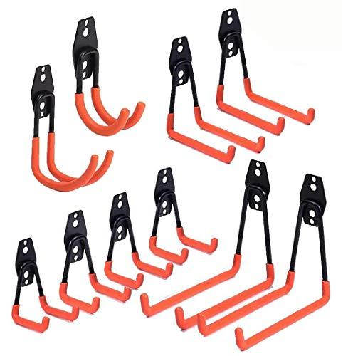 Garage Haken,10 Stück Garage Storage Utility Doppelhaken, Multi-size Heavy Duty Eisen Wandhalterung Werkzeughalter für Home Chair Ladder, Organisation von Elektrowerkzeugen