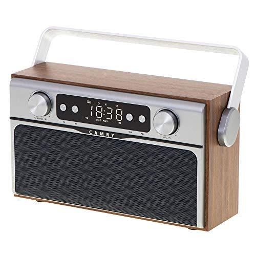Camry CR1183 Radio Bluetooth, Diseño Retro, Sintonizador FM, 2 Altavoces 8 W, Memoria 50 Emisoras, Reproducción MP3, Puerto USB y Tarjeta SD, Inalámbrica, Portátil, Pantalla LCD, Gris Madera/Acero