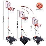 ANNA SHOP 97-170CM Kinder Einstellbar Basketballkorb mit Ständer Basketballständer mit Ball und Elektronisch Torschütze Basketball Ständer und Hoop Set für 3-10 Jahre alt