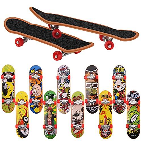 Mini Diapasón, 12PCS Patineta de Dedos Profesional Maple Wood DIY Assembly Skate Boarding Toy Juegos de Deportes Regalo para Niños Juguete Regalo de Cumpleaños Favores de Fiest (Patrón Al Azar)
