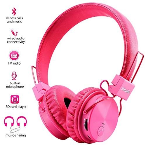 Kids Headphones, Foldable Stereo Bluetooth Headphones with Microphone Volume Control 3.5mm Jack,...
