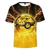 Pikachu Niño Niña Camisa Camiseta de Verano de Manga Corta 3D Impresa Top Hipster Blusas Ocio Túnica (1,110)