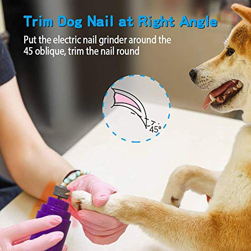Rull Dog Nail Grinder, Low Noise Electric Pet Nail Grinder, Painless Dog Nail Trimmer, Paws Grooming Tool for Dogs, Cats, Small Animals, Rechargeable Pet Nail Grinder