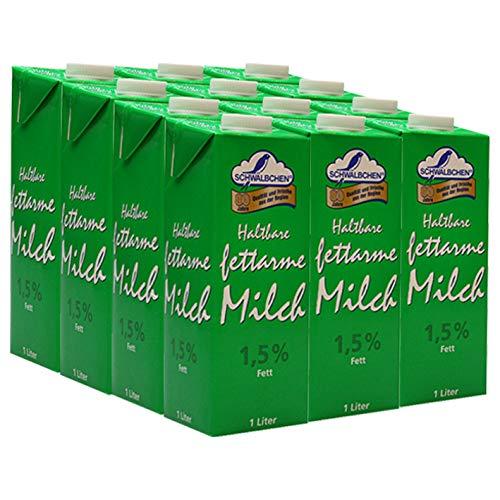 Schwälbchen Haltbare fettarme Milch, 1,5% Fett, 12er Pack