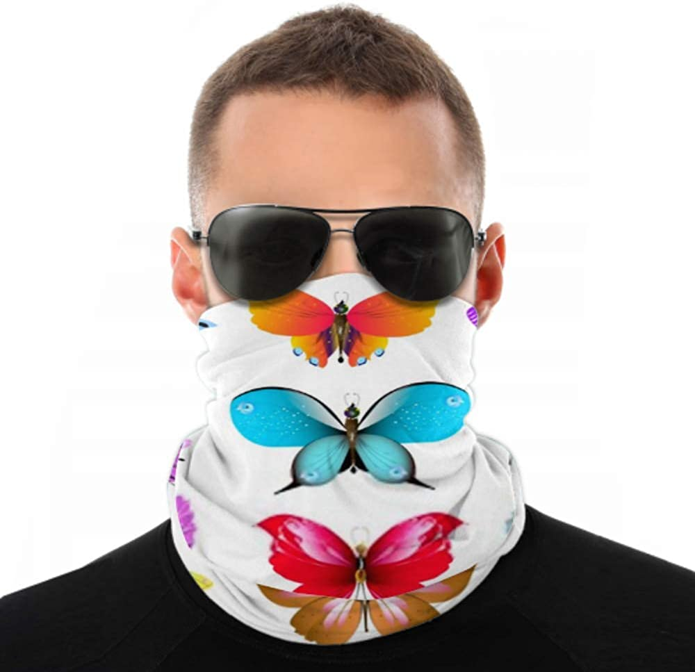 Headbands For Men Women Neck Gaiter, Face Mask, Headband, Scarf Color Beautiful Butterflies Isolated On White Turban Multi Scarf Double Sided Print Bandanas For Men For Sport Outdoor