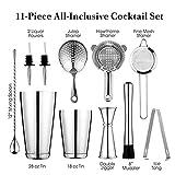 bzh De Vidrio Shaker Bar Set: 2 coctelera, colador tabuladas Set, Aparejo, Muddler y la Cuchara, Pinzas de Hielo y 2 Botella Pourer Coupe (Color : Silver)