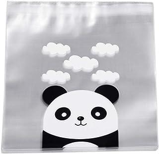 100pcs Clear Cellophane Bags Self-Adhesive Sealing Panda Cookie Bags Animal Gift Bags Pouch Packaging Bags for Bi. Qingchu...