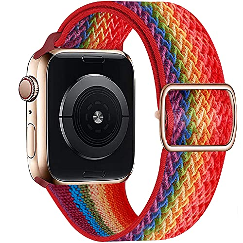 Cnwatech Stretchy Solo Loop Strap Compatible with Apple Watch Bands 38mm 40mm 42mm 44mm, Compatible with iWatch Series 6/5/4/3/2/1 SE, Adjustable Stretch Braided Sport Elastics Nylon for Women Men