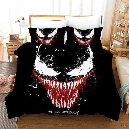 DWSM Venom 2/3 Piece Children's Polyester Fibre Duvet Cover, Duvet Cover + 1/2 Pillowcase, Easy Care, Do Not Shrink, Easy Clean (DY7.135 x 200 cm)