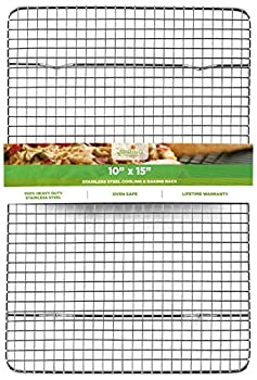 Oven Safe Heavy Duty Stainless Steel Baking Rack & Cooling Rack 10 x 15 inches Fits Jelly Roll Pan