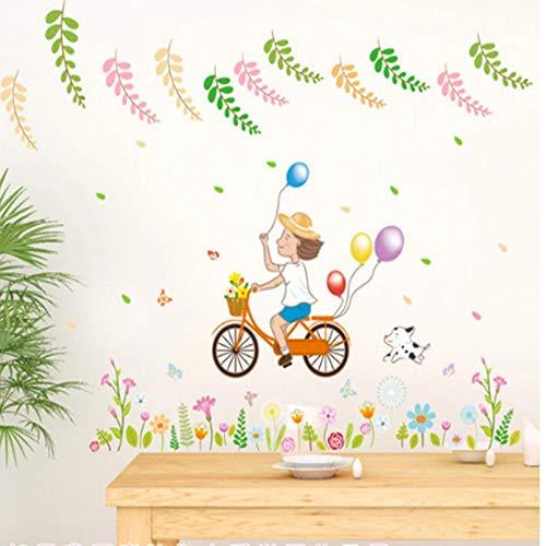 GEYKY Pegatinas De Pared Con Globo De Pvc Para Decoración De Baño De Bicicleta De Niña De Dibujos Animados, Calcomanías De Vinilo Impermeables Para Pared, Decoración De Ventana