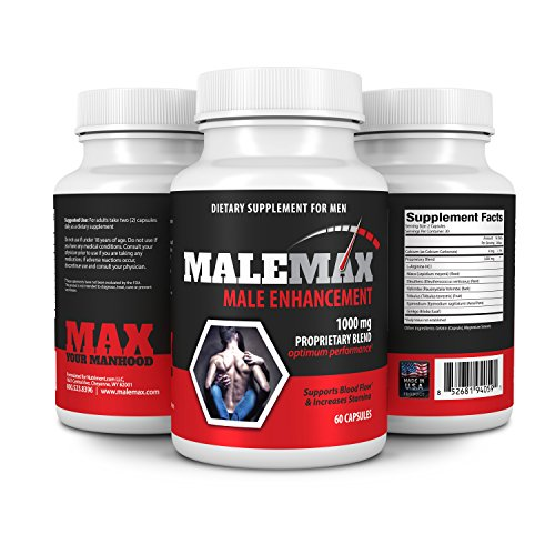 MaleMax Mens Performance Pills- Increase Size Lenght Girth Libido and Quality- Boost Testosterone Levels- All Natural Male Enhancement