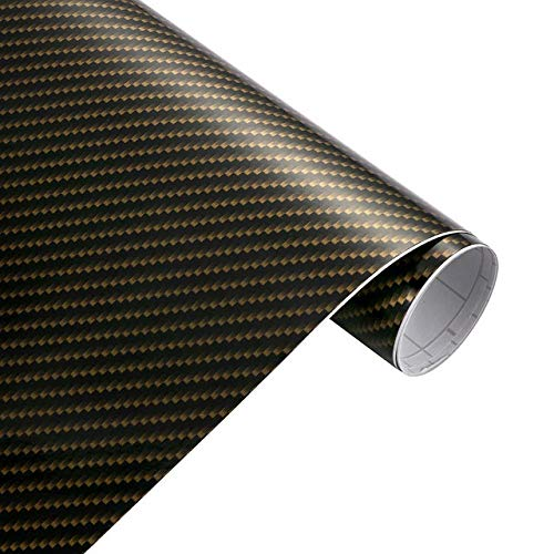QiuKui Decals Accessories 50x200cm Hochglanz 2D-Carbon-Faser-Vinylverpackungs-Film wasserdichte PVC-Auto-Aufkleber Wrapping DIY Automobil Motorrad Aufkleber (Color Name : Gold Black)