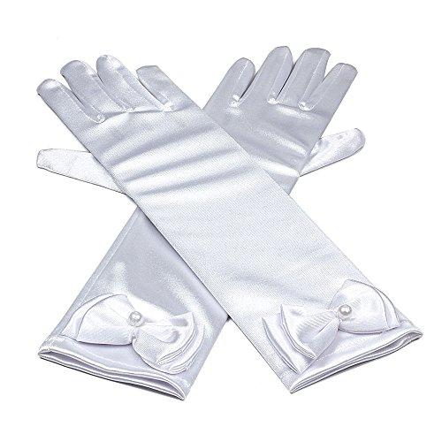Hijos de raso elastico vestido largo dedo guantes para niñas de fiesta, Blanco