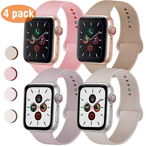 QIENGO 4 Pack Sport Bands Compatible with Apple Watch 38mm 40mm, Soft Silicone Replacement Strap Compatible with iWatch Series 5/4/3/2/1, S/M