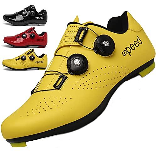 KUXUAN Calzado de Ciclismo Hombre Mujer con Bloqueo Zapatos Bicicleta de Carretera Calzado eléctrico Calzado Deportivo de Ciclismo,Yellow-39EU
