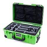 Pelican Lime Green & Black 1535 air case with Grey CVPKG dividers & mesh lid Organizer.