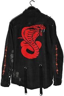 Gothic Demon Hunter Skull Chaqueta de Mezclilla Negra Rock Punk Botones de Abrigo Vintage Chaqueta Abrigo Outwear Tops Est...