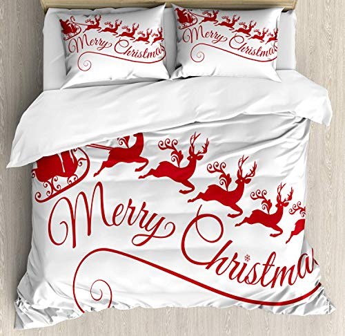 HUNKKY Merry Christmas Duvet Cover Set, Santa with His Sleigh Reindeer Silhouette Style Xmas Art Deco, Queen Size, Red Pink