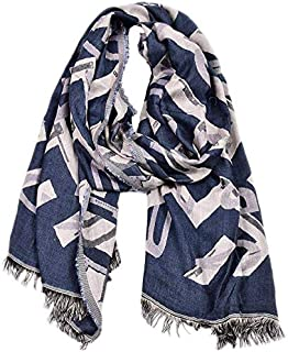 Autumn and Winter Men's Casual Letter Double Warm Scarf Yarn-Dyed Scarf,Blue yppss (Color : Blue, Size : -)