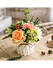 Artificial Flowers Fake Flowers Silk Rose Bouquets Decoration with Ceramics Vase for Table Home Office Wedding