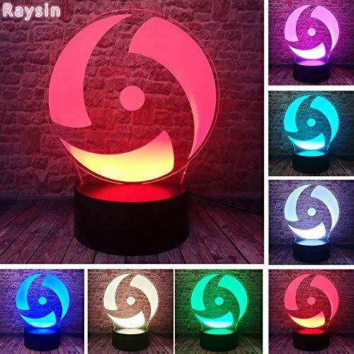 Japanischer Anime Naruto Thema Ninja Rota Jäger Mangekyo Sharingan Naka 3D LED Nachtlicht USB Tischlampe Kinder Geburtstagsgeschenk Nachtdekoration am Bett
