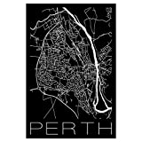 artboxONE Poster 120x80 cm Städte Retro Map Perth Black