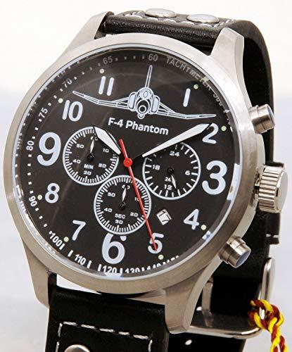 IMC Fliegeruhr Phantom Männer Herren Chronograph Armbanduhr Uhr Lederarmband Gehäuse aus Edelstahl