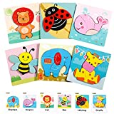 Wooden Puzzles for Toddlers 1-3 Gifts Toys for 1 2 3 Year Old Girls Boys, 6 Pack Animal Jigsaw Toddler Puzzles, Learning Educational Preschool Toys
