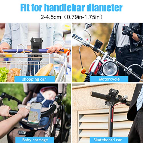 """2020 Upgraded Bike Phone Holder, Detachable 360° Rotation Bike Phone Mount with Anti Shake Full Silicone Base for iPhone Max Xr Xs X 11 8 7 Plus Samsung S20 S10 S9 S8 S7 Etc, 4.5"""" to7"""", Black"""