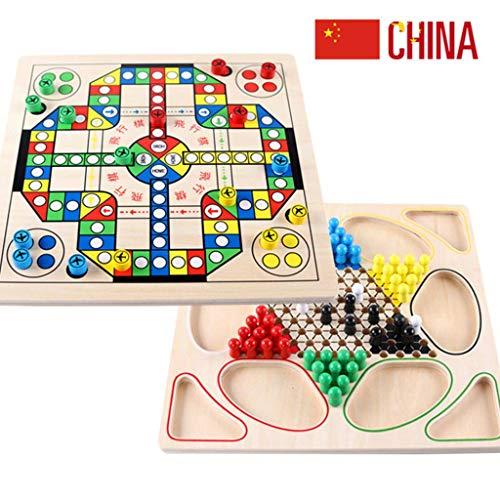 JINLIU 2 in 1 Dama Cinese E Scacchiera Volante Gioco da Tavolo, 32 X 32 X 3 Cm per Giochi All'aperto da Viaggio per Famiglie