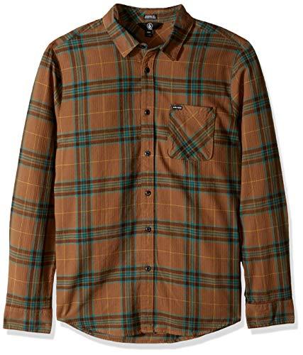 Volcom Caden Plaid L/S Langarmhemd für Herren M Braun (Mud)