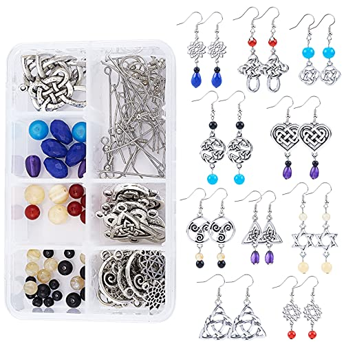 SUNNYCLUE 1 Box DIY 10 Pairs Trinity Celtic Knot Earrings Making Kit Flower of Life Connector Charms Acrylic Beads Jewellery Making Craft for Beginners Women Adults, Antique Silver
