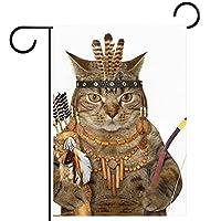 ガーデンヤードフラッグ両面 /12x18in/ ポリエステルウェルカムハウス旗バナー,弓と矢を持っている猫のインド人