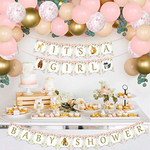 Kreatwow Woodland Baby Shower Decoraciones para niña Globo rosa Garland Arch Es una niña Banner Artificial Vine