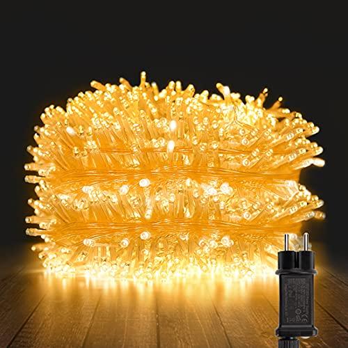 YOFIG Lichterkette Außen, 25M 1000 Led Lichterkette WeiLhnachtsbaum, Ideal Weihnachtsbeleuchtung Außen und Lichterkette Innen für Weihnachtsdeko, Lichterketten für innen und Weihnachtsbaumbeleuchtung