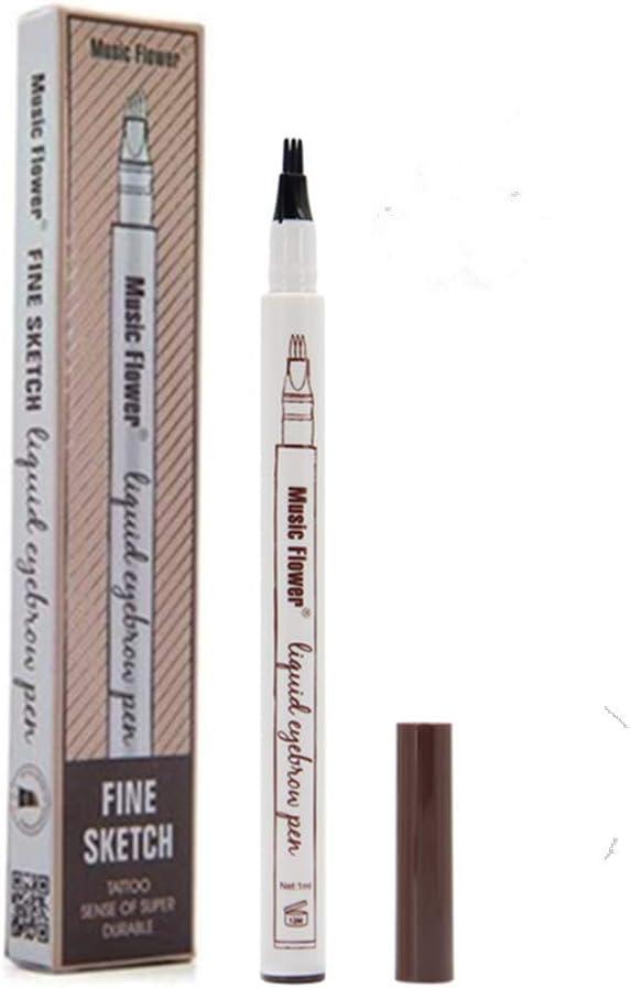 Tattoo Liquid Eyebrow Pencil con cuatro puntas de tenedor Impermeable y duradero Lápiz de cejas Ink Sketch Eyebrow Pen para Maquillaje Natural de Ojos(#2 Marrón): Amazon.es: Belleza