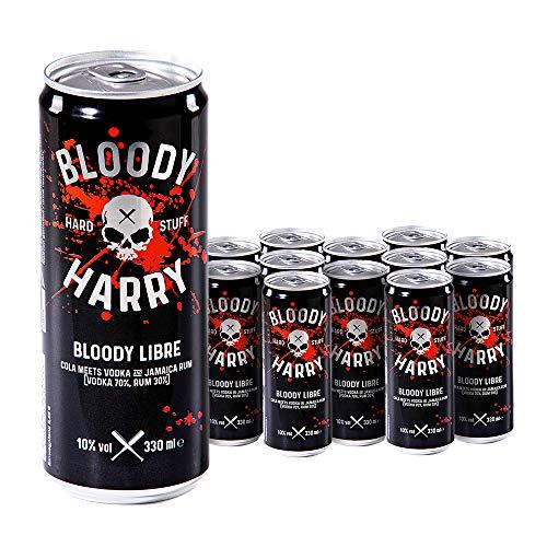 BLOODY HARRY® Premium Vodka x Rum-Cola Getränk | MADE IN GERMANY | 10% Vol. | Natürliches, Erfrischendes & Fruchtiges Geschmackserlebnis | Premium Qualität | EINWEG (12 x 0,33 l) (inkl. Pfand 3,00€)