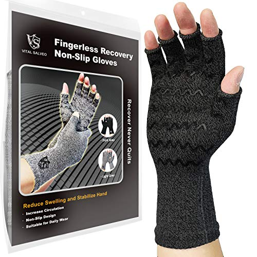 Vital Salveo-Fingerless Compression Arthritis Gloves-Relieve Pain for Rheumatoid, Carpal Tunnel Arches, Typing. Men and Women and Daily Support Half Finger Recovery Gloves (1 Pair)-Dark Grey-XL