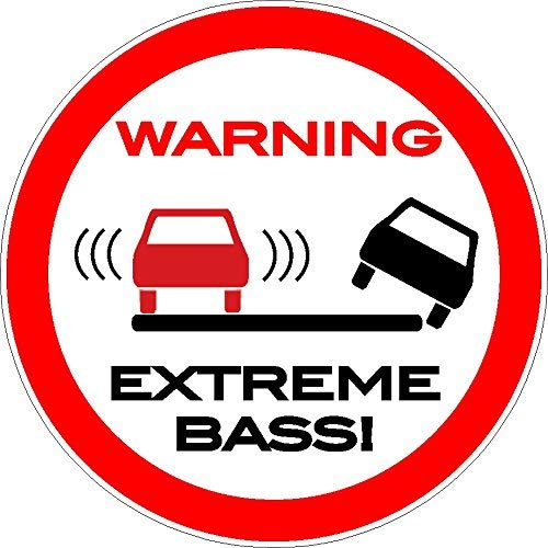 NetSpares 119404548 1 x Aufkleber Warning Extreme Bass Autoaufkleber Sticker Fun Gag Shocker Bassbox