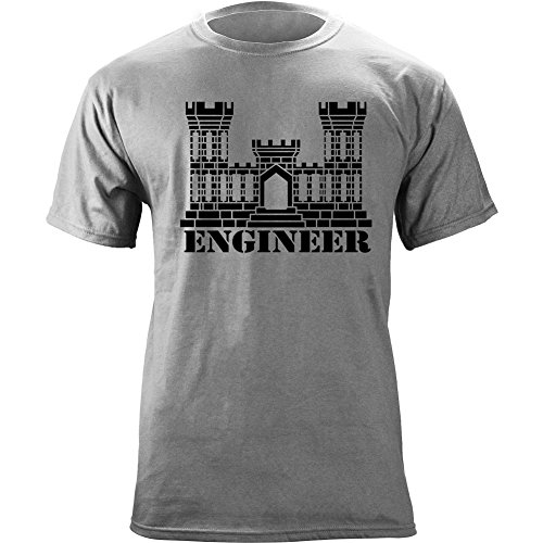 Army Engineer Branch Insignia Castle Veteran Graphic T-Shirt (XL, Heather Grey)